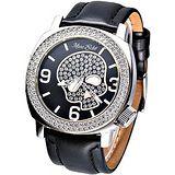 MARC ECKO 嘻皮龐克晶鑽骷髏時尚腕錶 (黑)