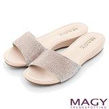 MAGY 時尚優雅名媛 絨布燙鑽低跟拖鞋-粉紅