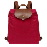 Longchamp Le Piage拉鍊尼龍輕巧後背包-艷紅色