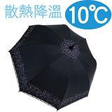 ◆日本雨之戀◆ 散熱降溫10℃直自動傘 - 心葉 {黑內紫} 遮陽傘/雨傘/晴雨傘/降溫傘/專櫃傘