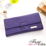 DF Flor Eden皮夾 - 巴黎簡約系列羊皮編織款兩折式長夾-羅蘭紫