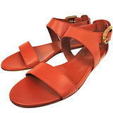 GUCCI 真皮平底涼鞋-橘色(36.5號)