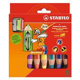 【德國天鵝牌STABILO】woody 3 in 1系列 粉蠟筆 6色裝 附專用削筆器(8806-2)