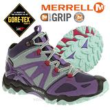 【美國 MERRELL】女新款 Grossbow Sport Mid Gore-Tex專業防水透氣中筒登山健行鞋.抗菌防臭味,排汗.避震 紫/淺藍 J65152