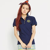 TOP GIRL 徽章繡花吸排公主袖POLO衫-藍