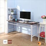 BuyJM超穩固耐用160公分工作桌附桌上書架