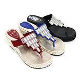 【Pretty】炫麗閃耀壓克力鑽蕾絲厚底楔型夾腳拖鞋