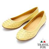 【女】Travel Fox SOFT-羊皮編織平底鞋914361(黃-11)