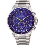 J.SPRINGS系列 夢想啟動三眼時尚腕錶-藍X銀