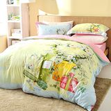 KisStyle 花季未了 精梳純棉-雙人四件式 床包被套組