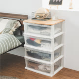 《Peachy life》日系木天板四層整理箱抽屜櫃/衣物收納櫃(加寬版)