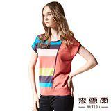 【麥雪爾】蠶絲彩色條紋垂墜蝶袖針織上衣-二色