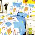 【DUYAN竹漾】方格韻味雙人加大四件式薄床包被套組
