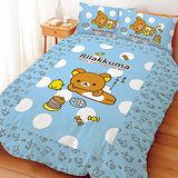 【享夢城堡】Rilakkuma拉拉熊 小憩片刻系列-雙人床包兩用被組