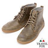 Travel Fox STYLE-牛津高筒靴914612(淺咖啡-08)