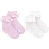 英國 JoJo Maman BeBe 柔細寶寶兒童短襪/棉襪 2入組 粉白荷葉(JJS2-001)