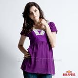 【BRAPPERS】女款 V領剪接五分袖上衣-紫