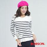 BOBSON 橫條紋針織布外套(白底藍紋25127-53)