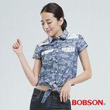 BOBSON 綁結式配蕾絲布襯衫(米彩藍25131-53)