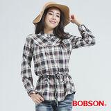 BOBSON 小立領.格子衫(灰色30121-10)
