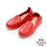 Travel Fox 柔軟皮革鬆緊帶舒適鞋915315(紅-04)