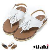 【Miaki】MIT 涼拖質感流蘇夾腳平底涼鞋 (白色 / 棕色 / 黑色)