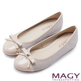 MAGY 清新氣質系女孩 氣質款蝴蝶結娃娃鞋-粉紅