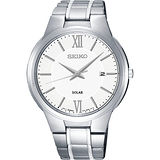 SEIKO CS系列太陽能都會腕錶-白/42mm V157-0BE0S(SNE385P1)