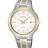 SEIKO CS系列太陽能都會腕錶-白x雙色版/42mm V157-0BE0KS(SNE388P1)
