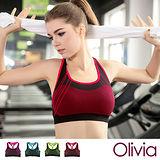 【Olivia】3D無鋼圈防震背心式舒適運動內衣-紅色