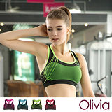 【Olivia】3D無鋼圈防震背心式舒適運動內衣-綠色