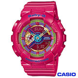 CASIO卡西歐 BABY-G少女時代立體多層次耀眼運動雙顯錶 BA-112-4A