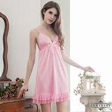 大尺碼Annabery純愛粉紅可愛裙襬柔緞睡衣