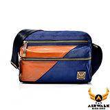 AIRWALK - 黑金系列 摩洛哥之星 雙色雙料機車側背小包 - 皇室藍
