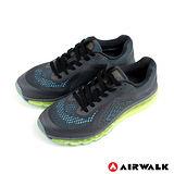 AIRWALK(男) - 透氣慢跑鞋 潮男夯路跑 網布氣墊運動鞋 - 夜空黑