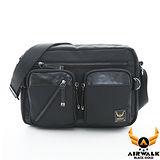 AIRWALK - 黑金系列 菱格針織紋口袋城市機車中包 - 質感黑