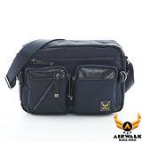 AIRWALK - 黑金系列 菱格針織紋口袋城市機車中包 - 冷調藍