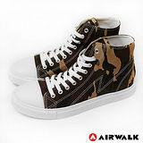 AIRWALK(男) - 青春年代復刻圓頭高筒帆布鞋 - 迷彩咖