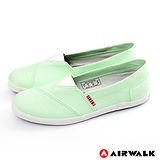 AIRWALK(女) - 帆布鞋 甜姐兒V領 斜紋拼布 輕柔純棉帆布鞋 - 淺綠