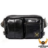 AIRWALK - 黑金系列 型男爵士雙口袋掛腰小側背包 - 輕鬆黑