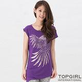【TOP GIRL】老鷹繡花造型圓領T-女(魅惑紫)