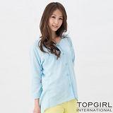 【TOP GIRL】甜蜜女孩寬版造型襯衫-女(天空藍)