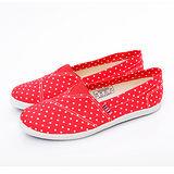 AIRWALK(女) - 俏麗無敵點點輕柔純棉帆布鞋 - 點點紅