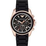 Emporio Armani Classic 雅爵計時錶-黑x玫瑰金框/44mm AR6066