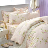 MONTAGUT- 古典玫瑰園-精梳棉-雙人七件式鋪棉床罩組(粉)