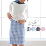 日本ANNA LUNA 現貨-附腰帶條格布鉛筆裙(淺藍/L)