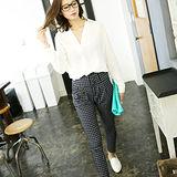 【ANNA LUNA】現貨-格紋高腰褲(藏青色×白色/L)