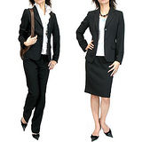 日本Portcros 現貨-端莊OL素色西裝外套+短裙+長褲三件套組