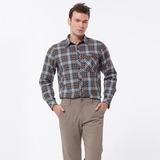 【hilltop山頂鳥】男款ThermoTech吸濕排汗長袖襯衫C05M11-卡其/灰藍格