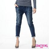 SOMETHING LADIVA打折小泡牛仔褲-女-原藍磨